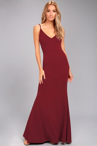 2c0dbb8cb73 Infinite Glory Wine Red Maxi Dress