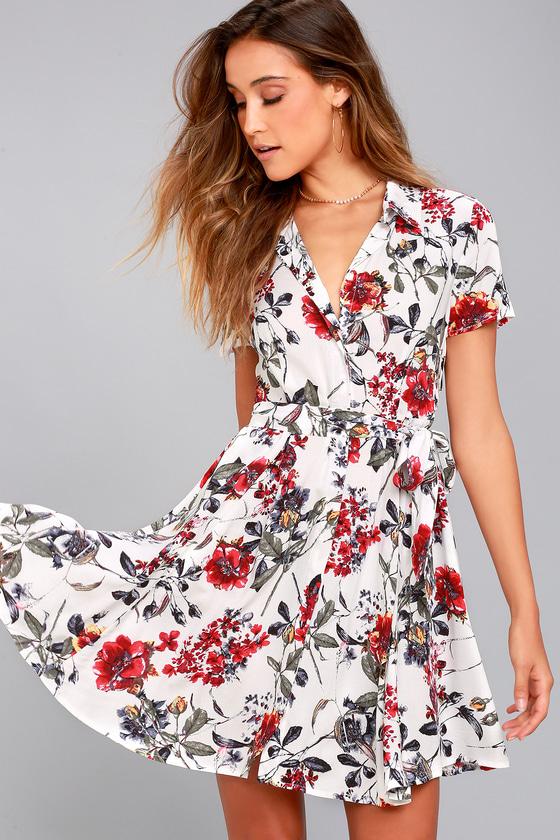 Just Fleur You White Floral Print Shirt Dress 2