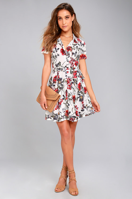 148290cdbe1 Just Fleur You White Floral Print Shirt Dress