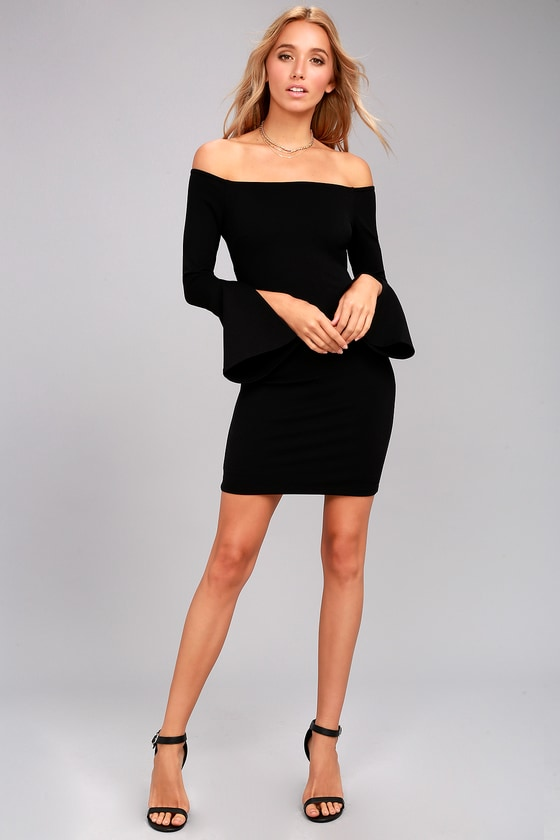 308064be38ec Marseille Black Off-the-Shoulder Long Sleeve Bodycon Dress