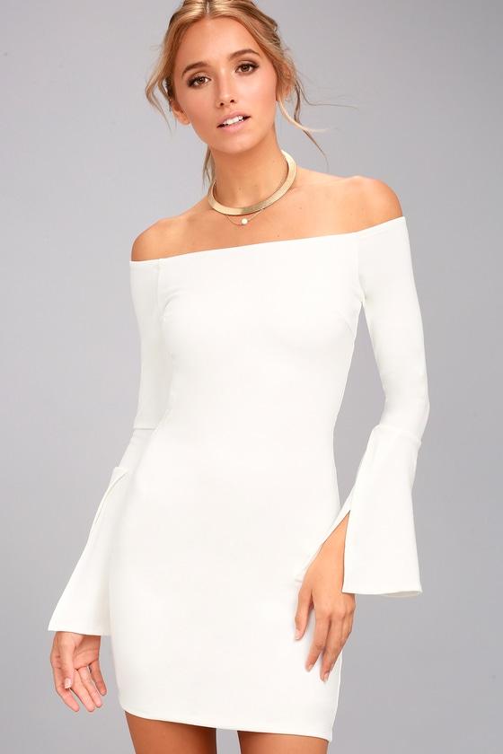 Marseille White Off-the-Shoulder Bodycon Dress 3