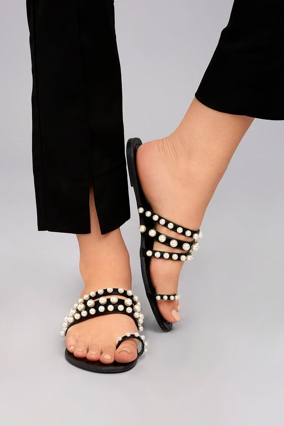 3792489139d2 Chic Pearl Slides - Black Sandals - Strappy Sandals