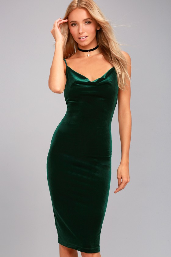 Jazzy Belle Dark Green Velvet Dress 3