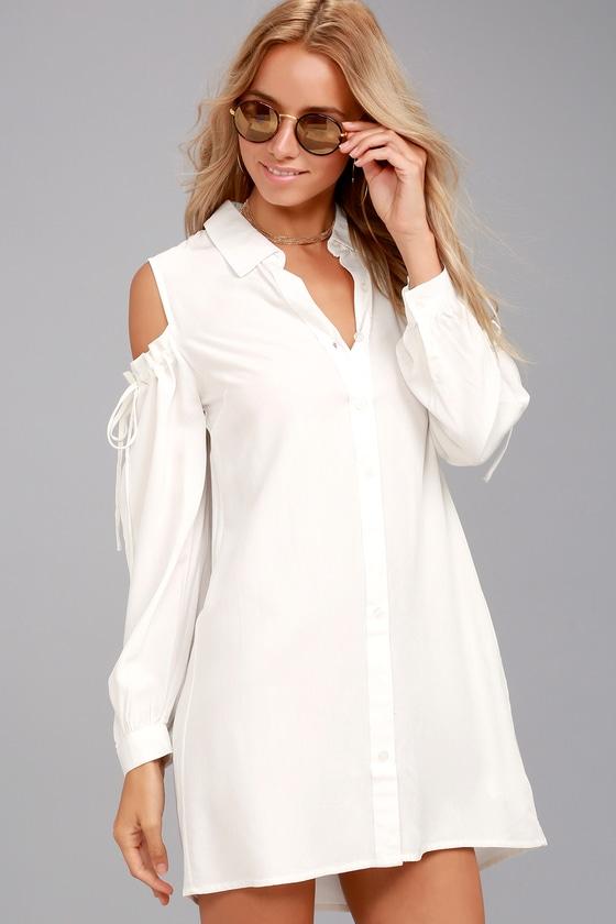 Take Care White Cold-Shoulder Shirt Dress 1