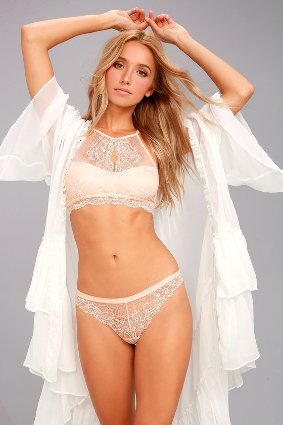 Love Lottery Peach Lace Bra and Panty Set 2