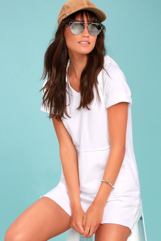 L.A. Love White Hoodie Sweatshirt Dress 1