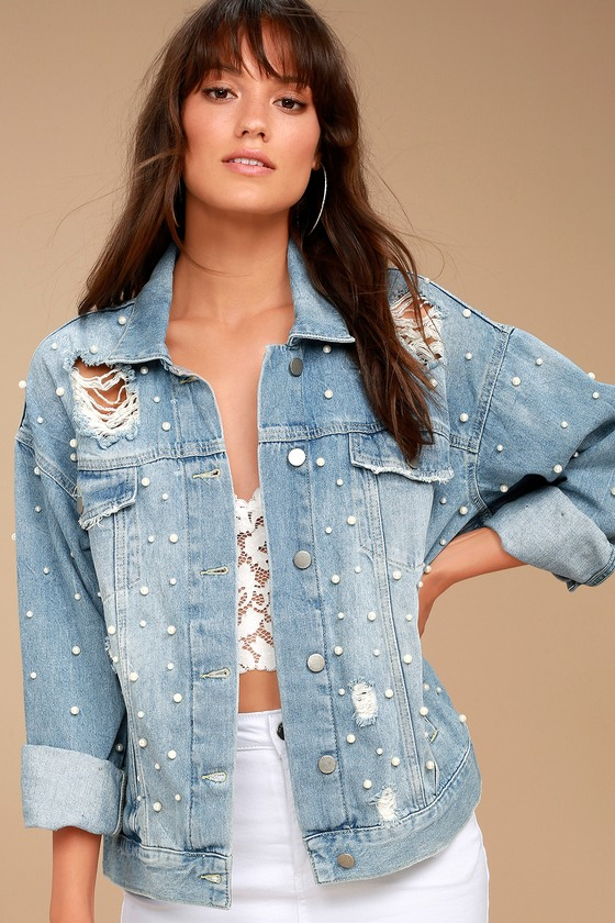 Free People Sunday Funday Blue Distressed Oversized Denim Jacket 3