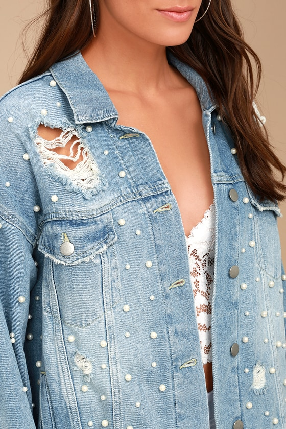 Free People Sunday Funday Denim Jacket Pearl Denim Jacket