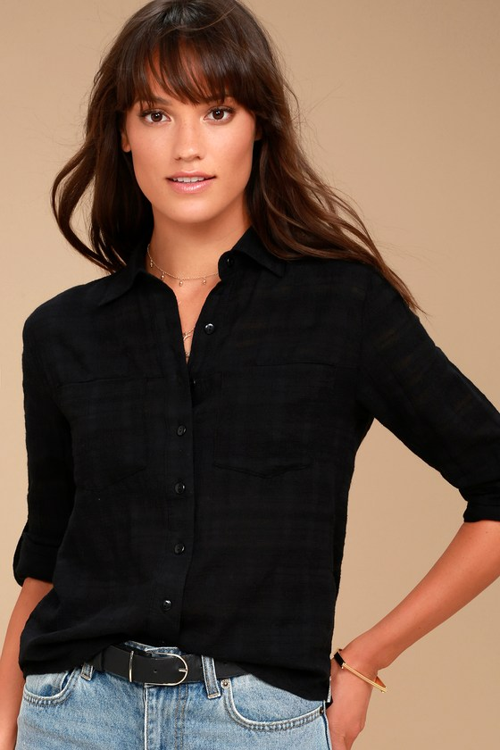Rhythm Cape Town Black Button-Up Top 1
