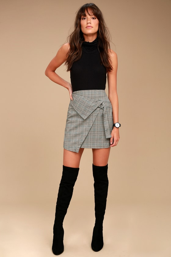 The Fifth Label City Sounds Grey Plaid Wrap Skirt 1