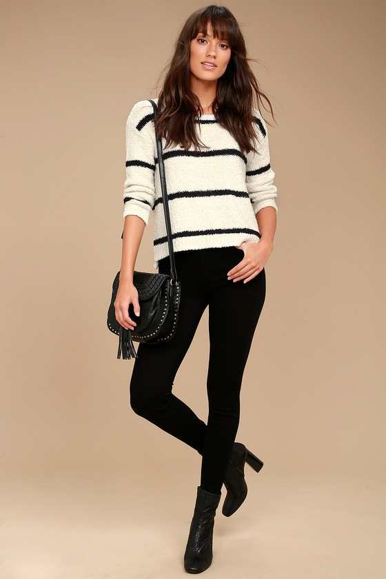 BB Dakota Karin Cream and Black Striped Sweater 2