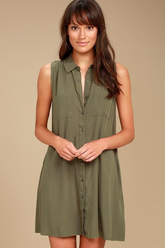 07877bdc Chic Olive Green Dress - Shirt Dress - Sleeveless Dress