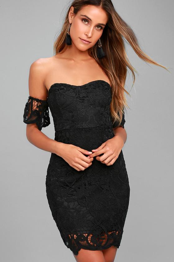 Gimme Noir Black Lace Off-the-Shoulder Dress 3