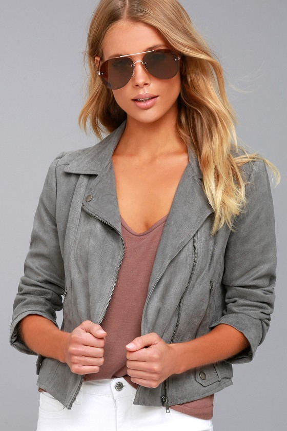 BB Dakota Johanness Grey Suede Moto Jacket 1