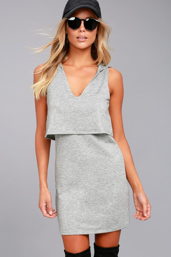 Dancing in the Streets Heather Grey Hoodie Dress 1