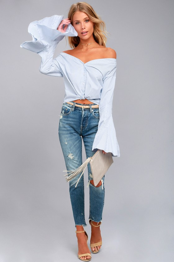 a5e23286417ac Blue Striped Top - Off-the-Shoulder Top - Bell Sleeve Top