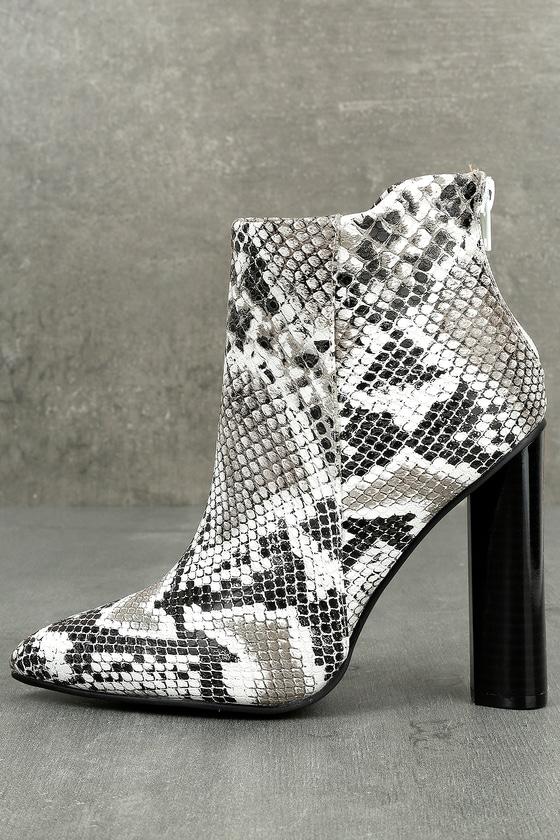 Sexy Snake Print Booties Block Heel Booties White Boots