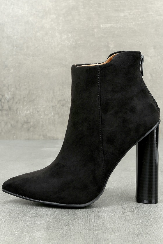 Scarlett Black Suede Ankle Booties 1
