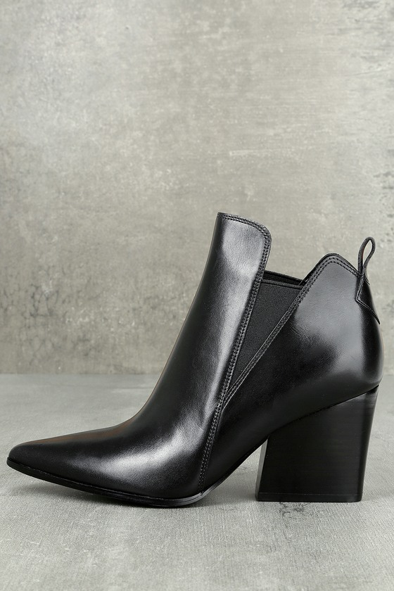 Kendall + Kylie Fox Black Leather Ankle Booties 1