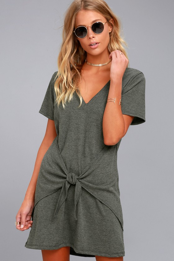 Live in Love Grey Knotted Shirt Dress 3