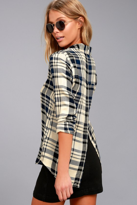 Tavik Ilana Beige and Navy Blue Plaid Button-Up Top 2