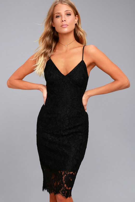 Extraordinary Love Black Lace Midi Dress 3