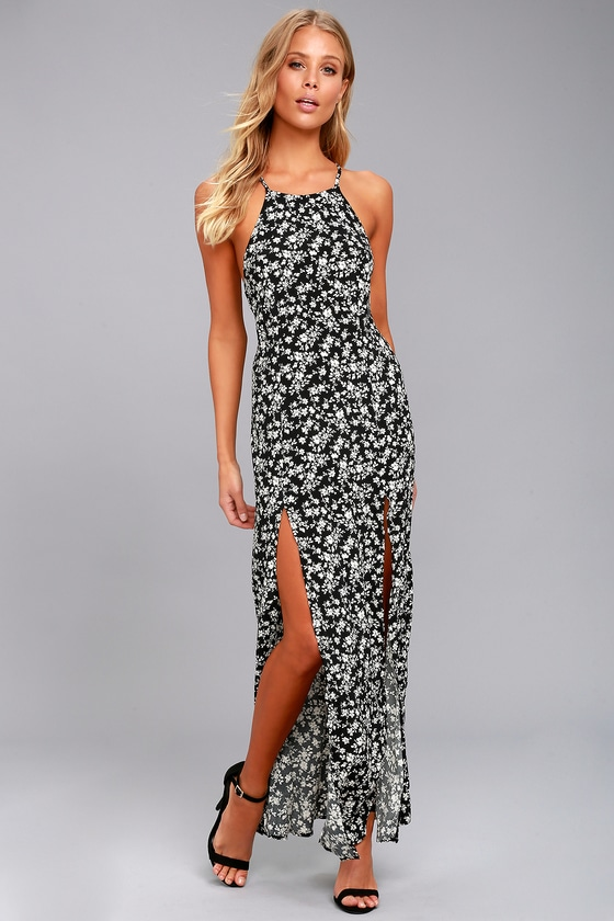 31c51fbe7bef Cute Floral Dress - Black and White Maxi - Ditsy Floral Maxi