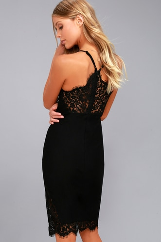9a7f839f67 Only Want You Black Lace Bodycon Midi Dress
