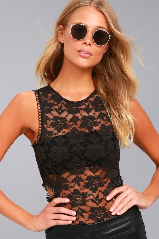 Amuse Society Haisley Black Lace Bodysuit 1