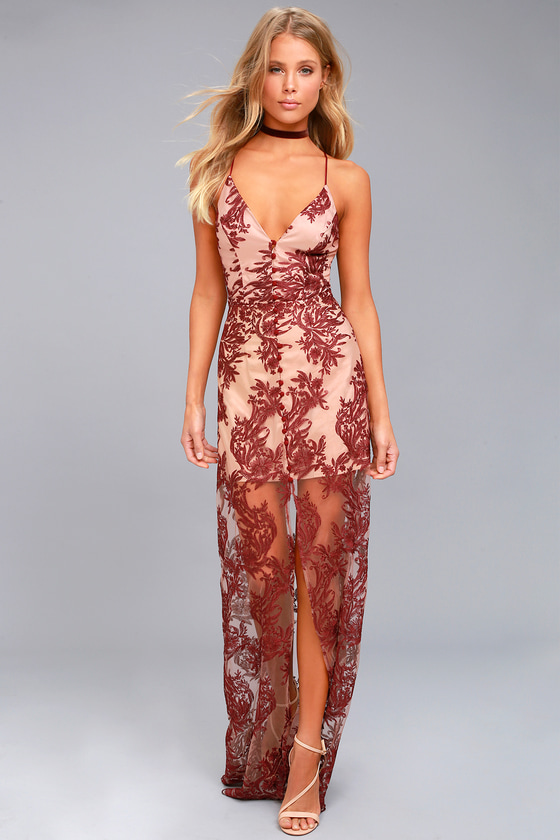 Finders Keepers Spectral Burgundy Lace Maxi Dress 1