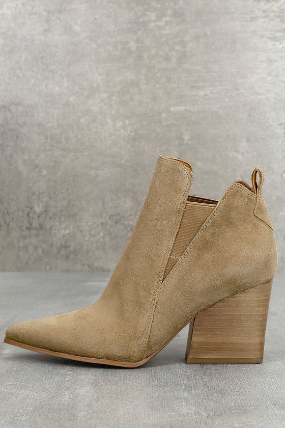 Kendall + Kylie Fox Light Natural Suede Leather Ankle Booties 2