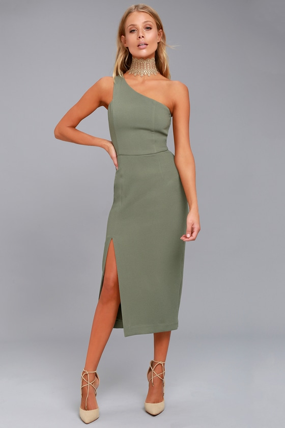 Finders Keepers Haunted Olive Green One-Shoulder Midi Dress 1