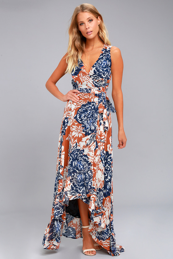 Desert Trip Rust Orange Floral Print High-Low Wrap Dress 1