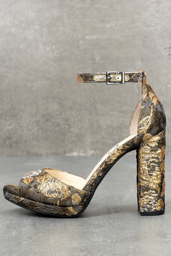 Jessica Simpson Jenee Metallic Multi Brocade Platform Heels 1