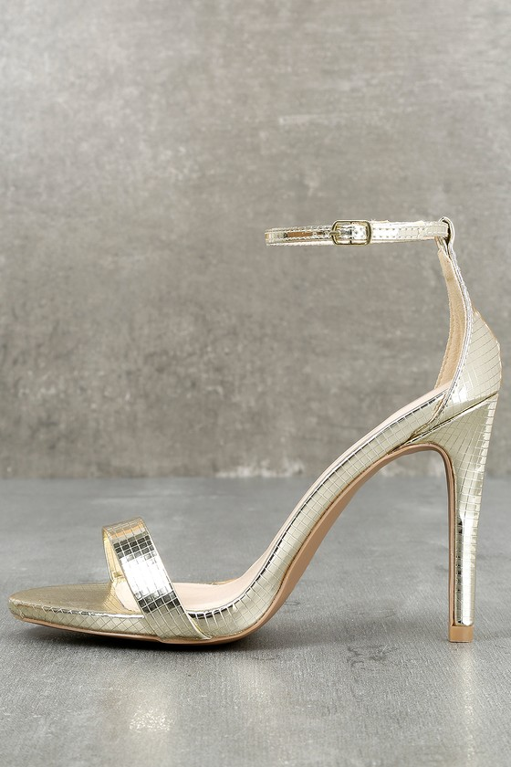 All-Star Cast Champagne Ankle Strap Heels 1