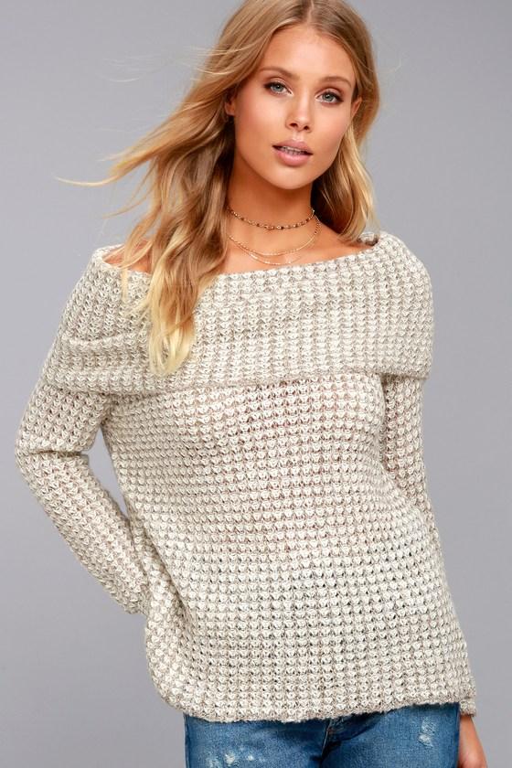 BB Dakota Tegan Beige Off-the-Shoulder Sweater 4