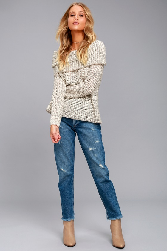e329e3fb881 BB Dakota Tegan - Beige Off-the-Shoulder Sweater
