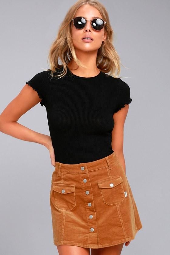 Rhythm Pennylane Tan Corduroy Mini Skirt 3