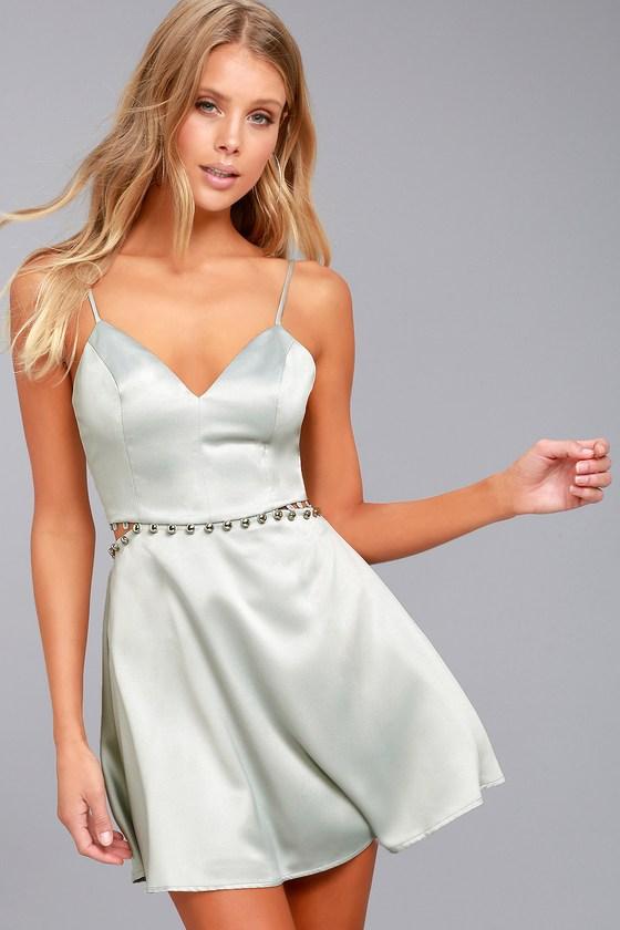 39a3b7f019 NBD Brandi - Silver Dress - Skater Dress - Cutout Dress