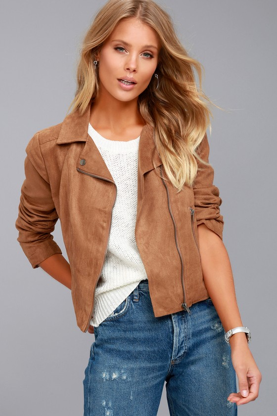 Jack by BB Dakota Johanness Tan Suede Moto Jacket 4