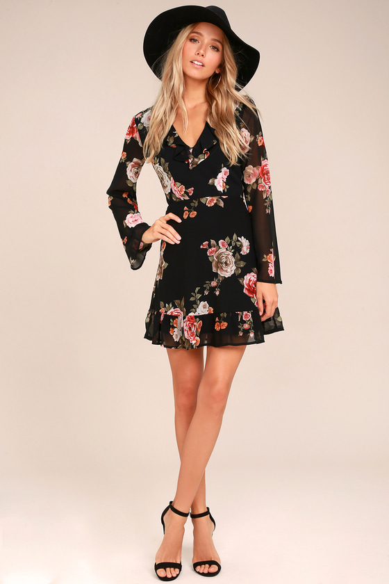 Chic Black Floral Dress - Long Sleeve Dress - Ruffled Dress
