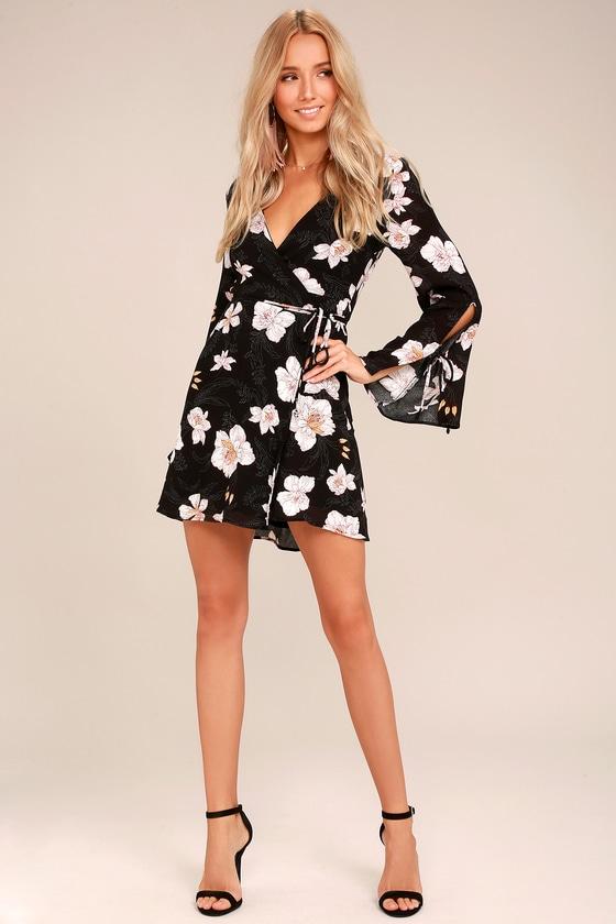 Boho Black Floral Print Wrap Dress Long Sleeve Dress