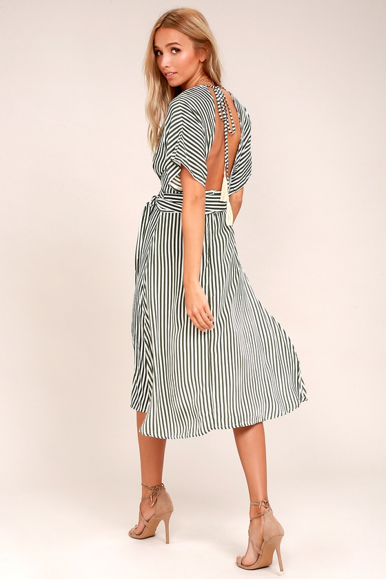 3ab60dc9113d Faithfull the Brand Mustang Olive Green Striped Midi Dress
