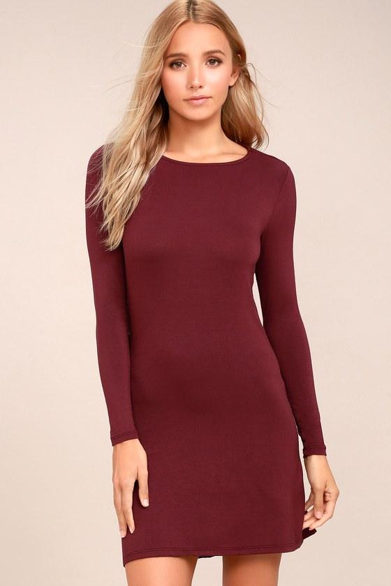 Kiss and Tell Burgundy Long Sleeve Backless Dress 1