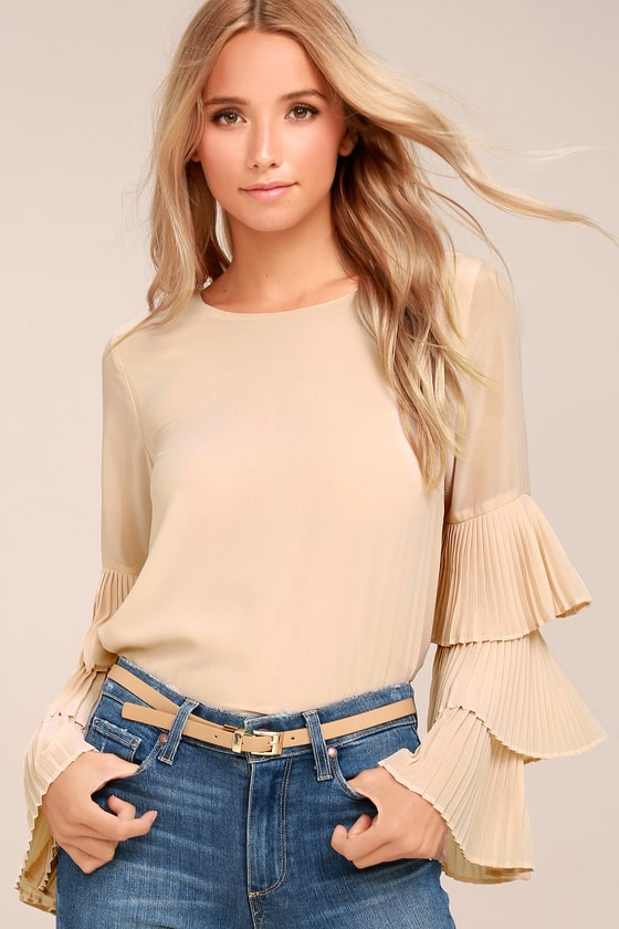 One For the Ages Beige Long Sleeve Top 4
