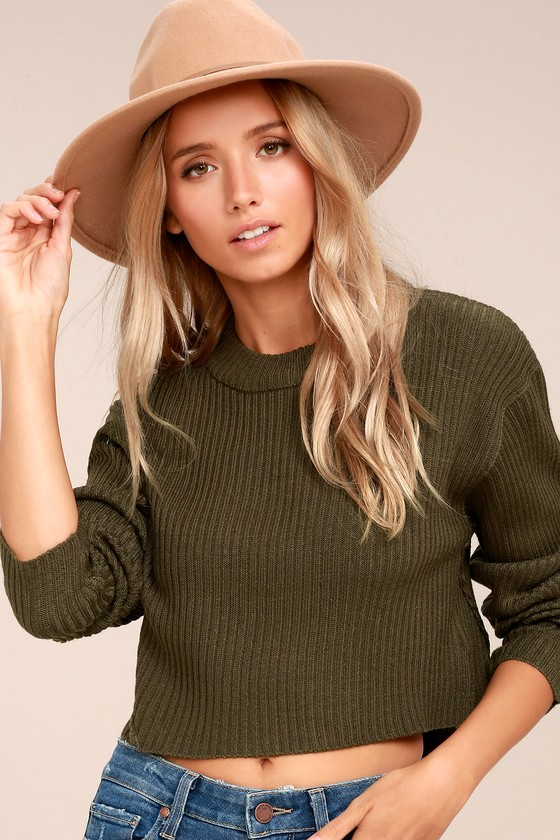 Cheap Monday Eminent Knit Olive Green Long Sleeve Crop Sweater 2