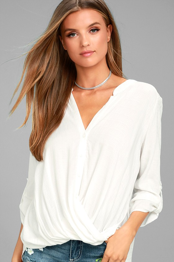 Making a Difference White Button-Up Top 2