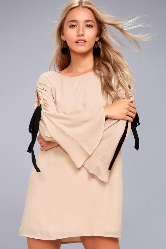 Cherish Beige Long Sleeve Shift Dress 1