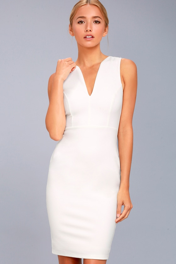 Quite Spectacular Ivory Bodycon Dress 1