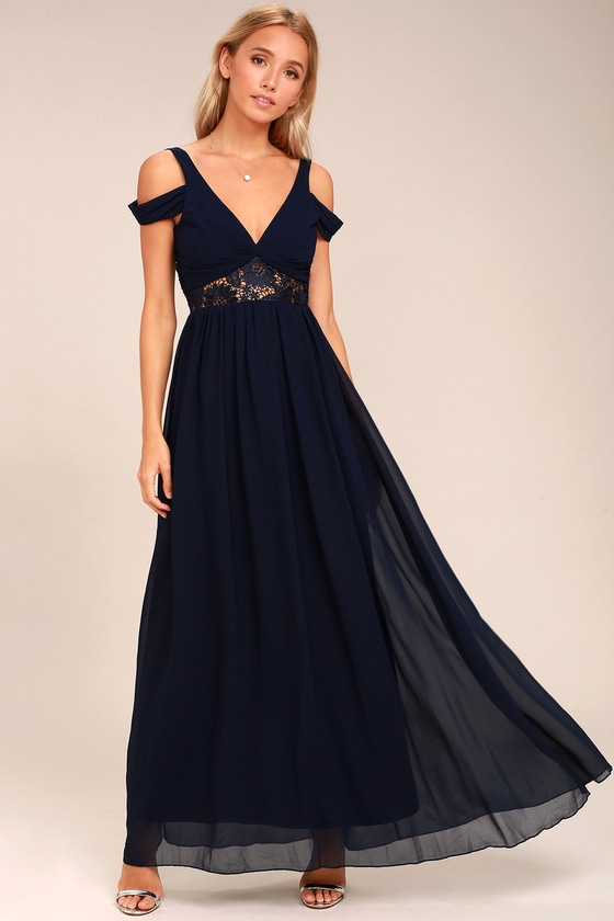 9284798ace4 Navy Blue Maxi Dress - Off-the-Shoulder Dress - Gown